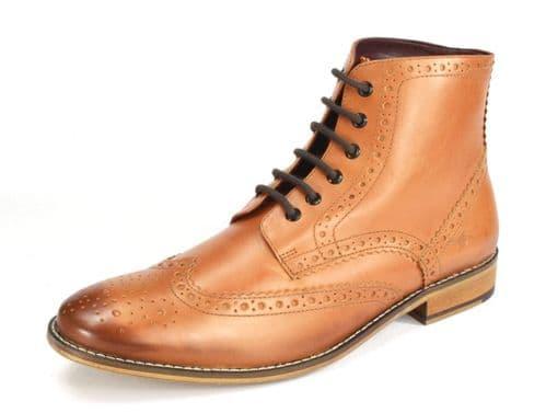 London Brogues Gatsby Hi Tan Lace Boots